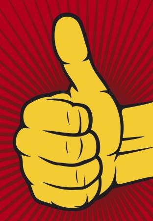cheerful cartoon: mano que muestra los pulgares para arriba Mano humana dando ok