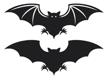 silhouet van bat vlucht van een vleermuis