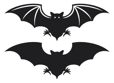 at bat: silhouette of bat  flight of a bat  Illustration