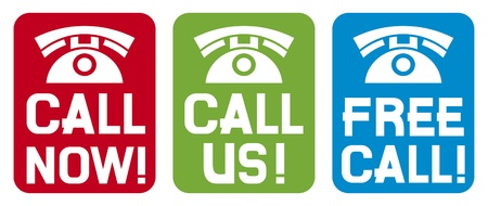 handset: call now label, call us label, free call label  phone icon set, phone icons