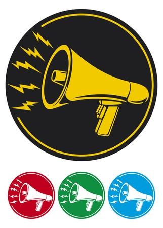 gürültü: megafon simgesi bullhorn simgesi, megafon düğme, megafon sembolü Çizim