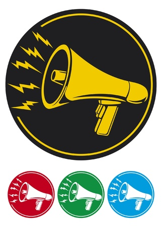loud music: megaphone icon  bullhorn icon, megaphone button, megaphone symbol  Illustration