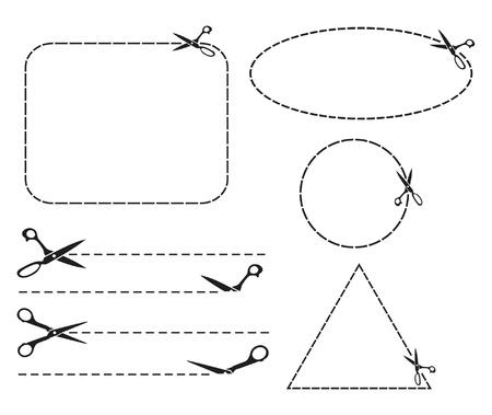 scissors cut lines  cutting scissors  Stock Vector - 15039840