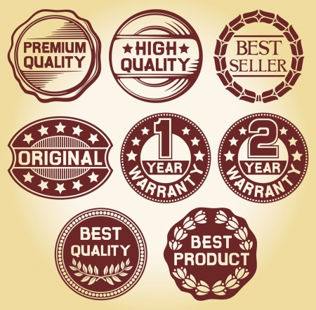 quality label, high quality label, best seller label, original label, 2 year warranty label, 1 year warranty, best quality label, best product label  set of 8 badges, labels and rubber stamp  Vector