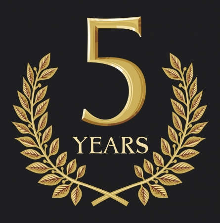 five elements: golden laurel wreath 5 year  year anniversary, year jubilee