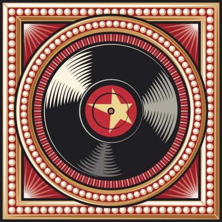 disk jockey: disco in vinile record retro disegno