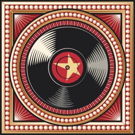 vinyl disc retro design  record  Vector