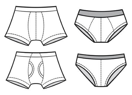 underwear: hombre ropa interior ropa interior, pantalones hombres s calzoncillos, bragas ropa interior de hombre, pon Vectores