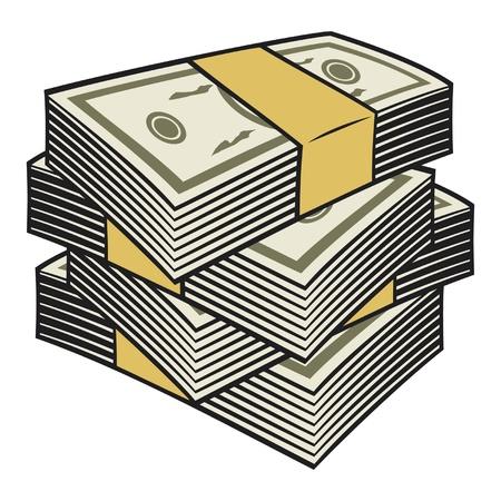 cuenta: Gran pila de dinero Vectores