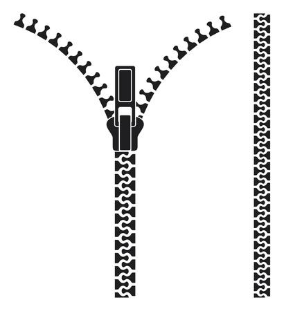 Offenen Reißverschluss Vektorgrafik