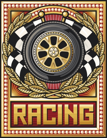 sports race design  racing emblem, sports race emblem,wheel, tyre, checkered flag Stock Vector - 15099297