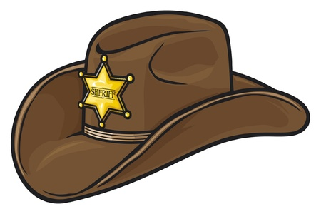 old cowboy: Old Western Sheriff Hat Illustration