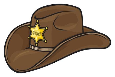 Oude Westelijke Sheriff Hoed Stock Illustratie