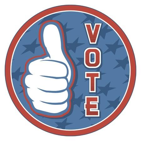 nomination: Estados Unidos Elecciones pins insignia, el dise�o, la mano que muestra los pulgares para arriba