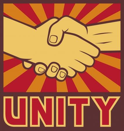 unity poster  unity design, handshake  Stock Vector - 15099218