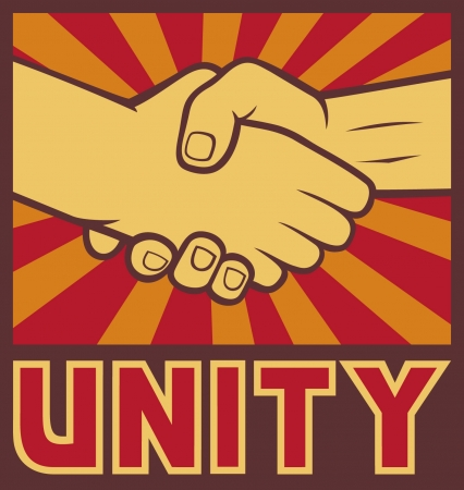 workers rights: unity poster  unity design, handshake  Illustration