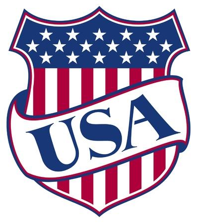ville usa: �TATS-UNIS D'AM�RIQUE bouclier Etats-Unis - am�ricain patriotique symbole Illustration