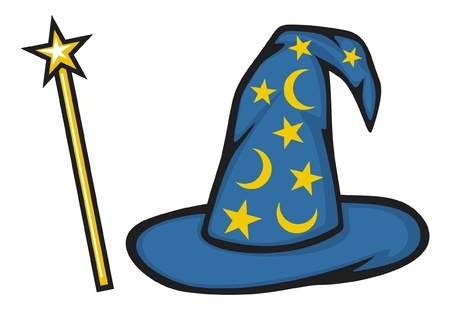 Hat of the wizard  Wizard hat  and magic stick Vector