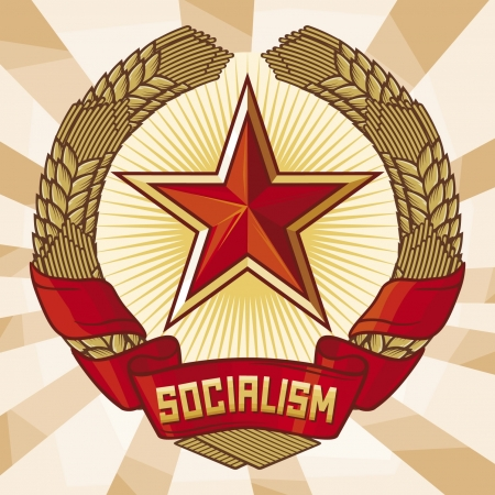 totalitarian: Socialism emblem  a symbol of communism , wreath of wheat and star