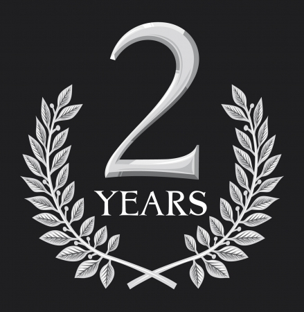 year curve: laurel wreath 2 years  anniversary, jubilee