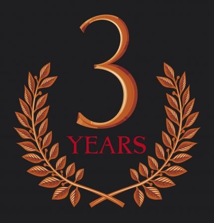 laurel wreath 3 years  three years anniversary, three years jubilee Stock Vector - 15099290