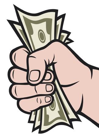 consommateurs: L'argent dans la main � la main avec de l'argent, billets de banque tenant la main