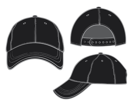 front side: black baseball cap