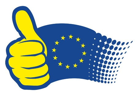 European Union flag EU Hand showing thumbs up