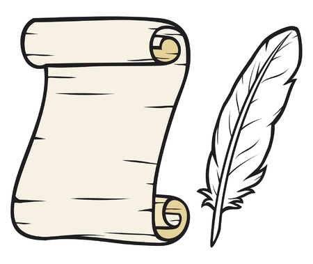 papyrus: old paper with feather  roll of old paper and feather, scroll and feather
