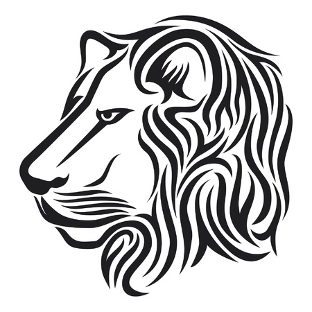 Lion head tribal tattoo Vector