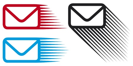 red winged: Mail icon set