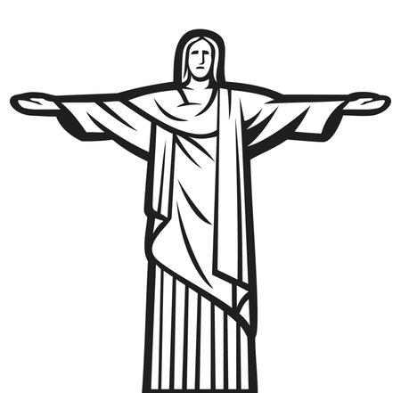 rio de janeiro: Christ the Redeemer statue - Stylized illustration of Jesus Chris  Rio de Janeiro