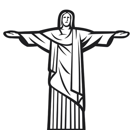 chris: Christ the Redeemer statue - Stylized illustration of Jesus Chris  Rio de Janeiro