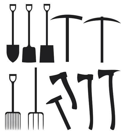 colección de siluetas jardín instrumentos pala, hacha, pico, martillo, pala, rastrillo, tijeras, clavos, llave, pintura roler Ilustración de vector