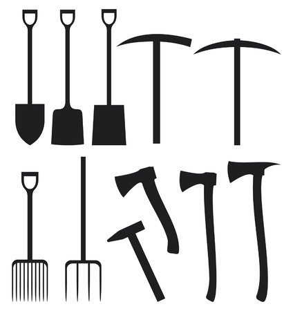 pick: collection of garden instruments silhouettes  shovel, ax, pick, hammer, shovel, rake, scissors, nail, wrench, paint roler  Illustration