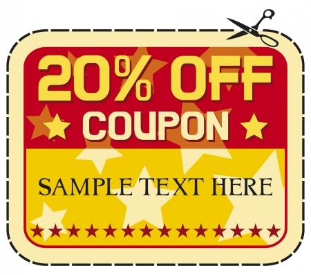 Coupon verkoop 20 twaalf procent korting, korting etiket Vector Illustratie