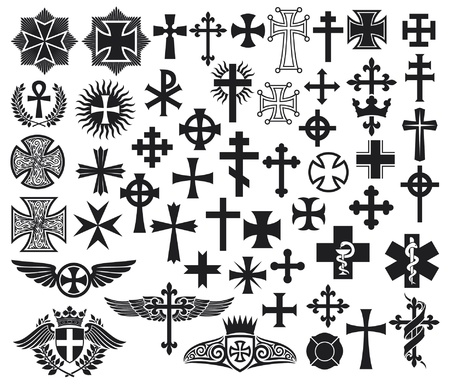 jesus cross: Big collection of isolated crosses  crosses set  Illustration