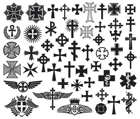 j�sus croix: Grande collection de croix croix isol�s mis en Illustration
