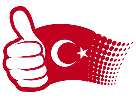 Turkey flag  flag of Turkey   Hand showing thumbs up Vector
