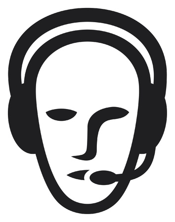 headset business: cuffia auricolare uomo simbolo, call center icona, faccia con l'auricolare, operatore di telefonia supporto auricolare, assistenza clienti uomo Vettoriali