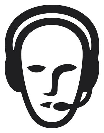mobile headset: s�mbolo auriculares auriculares hombre, call center icono, la cara con un aud�fono, el operador de telefon�a de apoyo en el auricular, soporte al cliente hombre