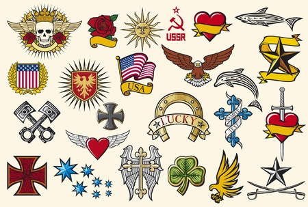 big tattoo collection  tattoo elements, tattoo symbols  Vector