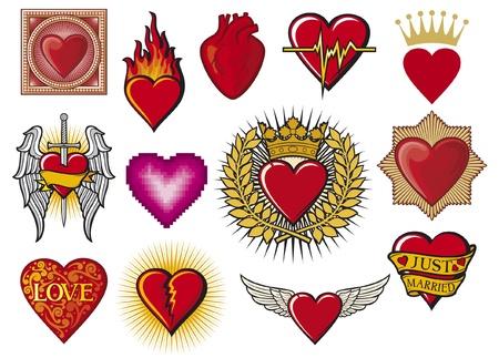 corazon roto: coraz�n corazones conjunto de recopilaci�n, ardiente coraz�n, el coraz�n en llamas, coraz�n con alas, coraz�n roto, el coraz�n colorido con dise�o ornamental, dise�o apenas casado coraz�n, la espada y el coraz�n, los latidos del coraz�n