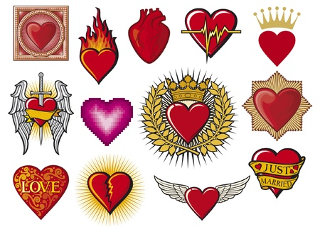 heart collection  hearts set, flaming heart, heart in flame, heart with wings, broken heart, colorful heart with ornamental pattern, just married heart design, sword and heart, heart beats  Vector
