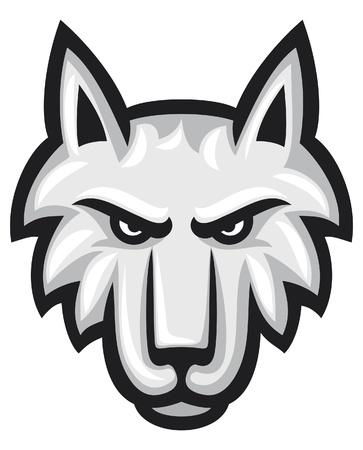 lobo: Vector ilustración de la cara de la cabeza del lobo lobo