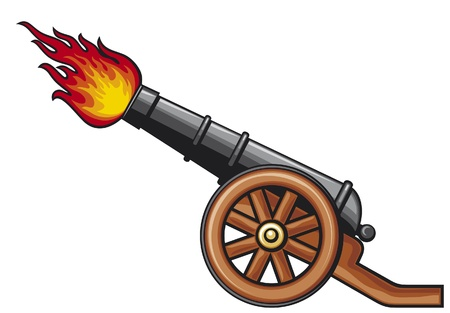 ancient cannon, old artillery cannon Vector
