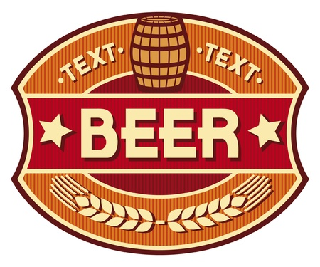 beer barrel: beer label design Illustration