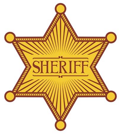 shinning: sheriff s star  sheriff badge, sheriff shield  Illustration