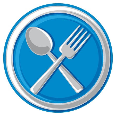 knife and fork: restaurant symbol - crossed fork and spoon (food icon, food symbol, restaurant sign, restaurant design) Illustration