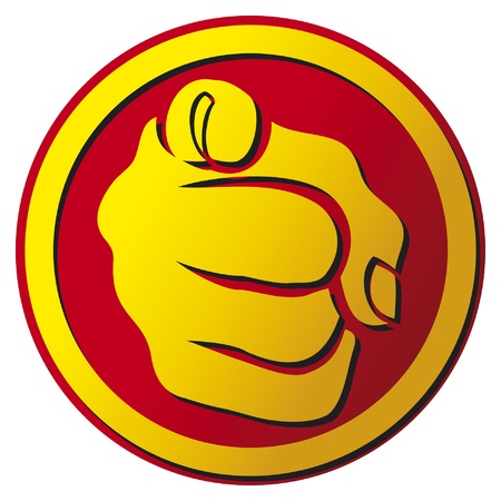 one: Hand pointing button  finger pointing icon